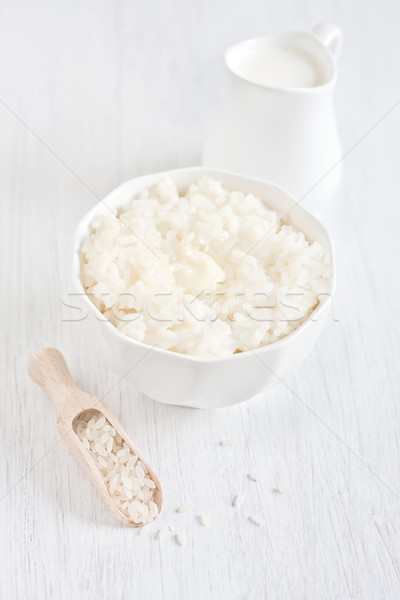 Arroz manteiga creme pequeno jarro foco Foto stock © Karaidel