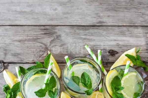 Foto stock: De · limonada · folhas · fresco · limão · cópia · espaço