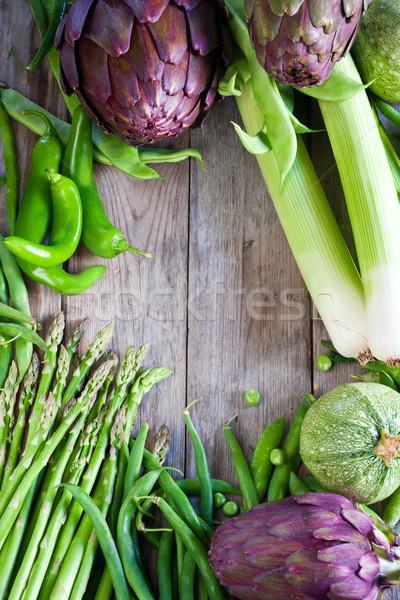 Zielone warzyw stare drewno por fasola cukinia Zdjęcia stock © Karaidel