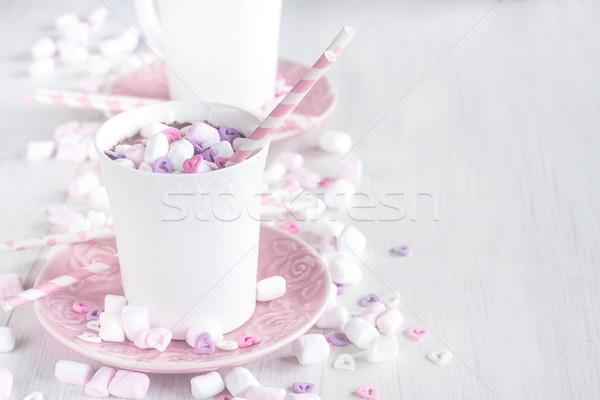 Chocolate quente marshmallow caneca coração Foto stock © Karaidel