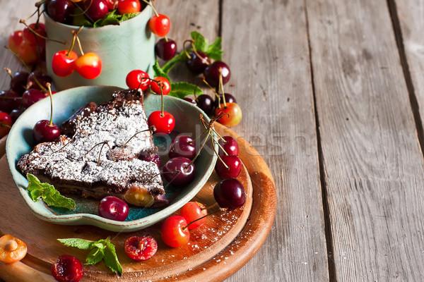 Clafoutis with cherry background Stock photo © Karaidel