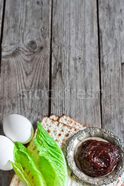 Yahudilerin hamursuz bayramı yumurta acı salata yaprakları geleneksel Stok fotoğraf © Karaidel