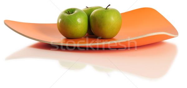 Manzanas verde manzana bandeja frescos dulce Foto stock © karammiri