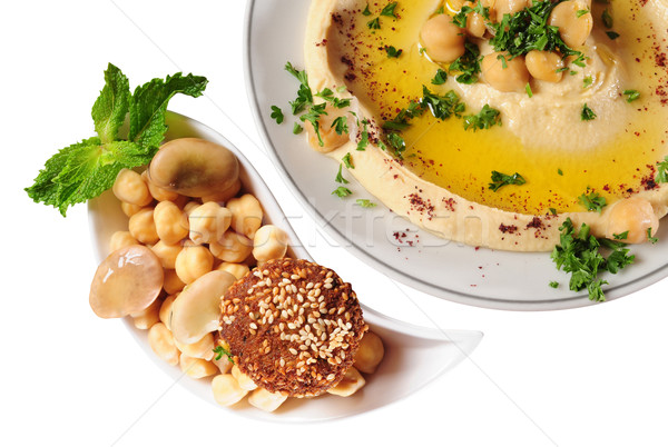 Hummus and falafel Stock photo © karammiri