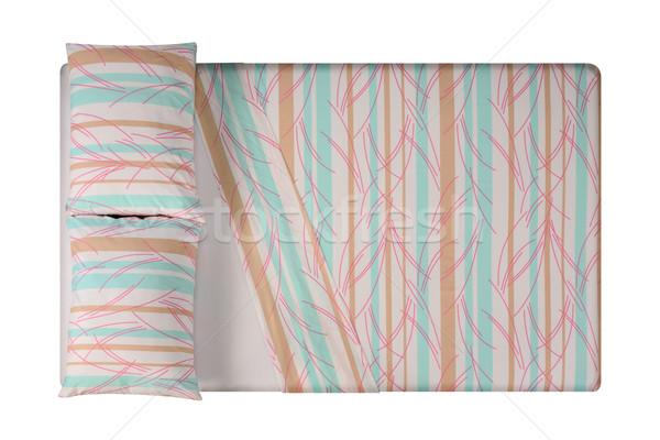 ágy izolált puha párnák textúra háttér Stock fotó © karammiri
