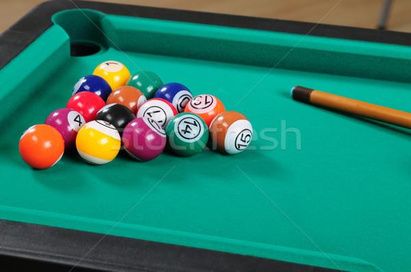 Biliárdasztal zöld terv jókedv fekete játék Stock fotó © karammiri