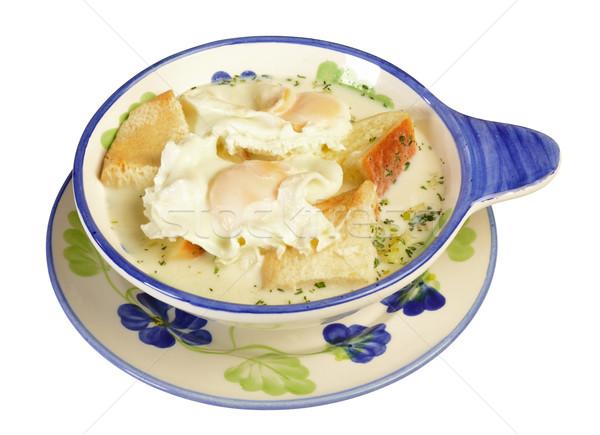 Reggeli sült tojások tej kenyér tojás Stock fotó © karammiri