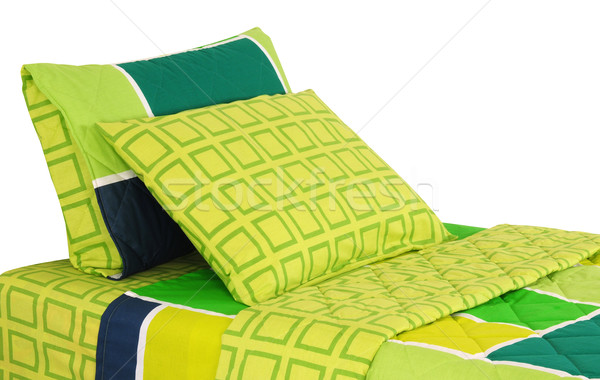 Cama aislado suave almohadas textura fondo Foto stock © karammiri