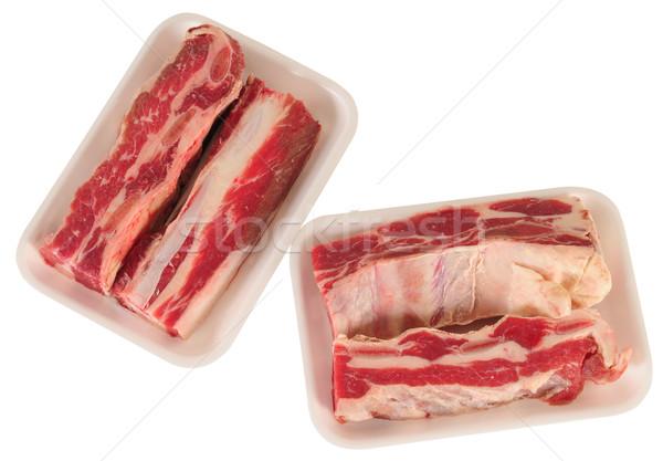 Nyers hús piros fehér étel tányér Stock fotó © karammiri