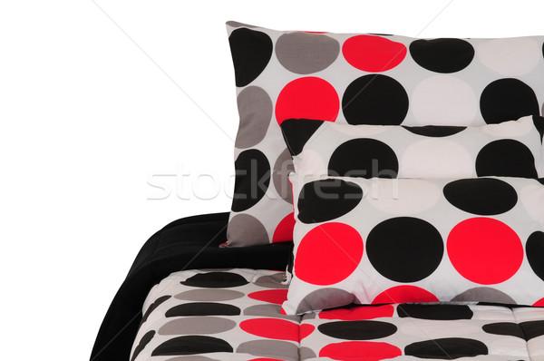 ágy vágási körvonal fedett puha párna háttér Stock fotó © karammiri