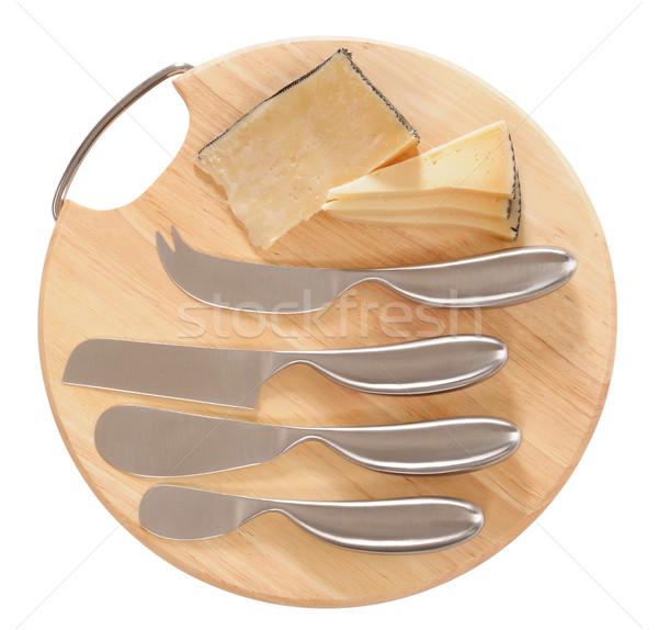 Сыр из козьего молока Ломтики сыра совета Cut Сток-фото © karammiri