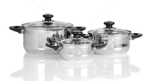 Konyha kellékek izolált lábas fehér étel Stock fotó © karammiri