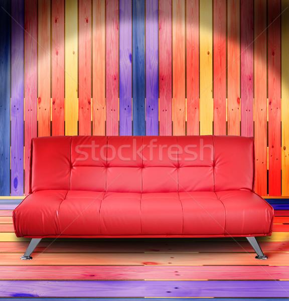 Nappali bútor kanapé színes fából készült fal Stock fotó © karammiri