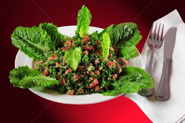 Közel-keleti konyha saláta friss hozzávalók zöld Stock fotó © karammiri