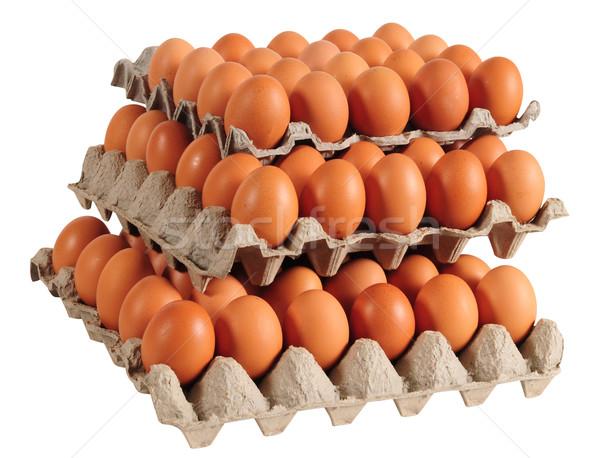 Tojások tojás karton fehér farm szín Stock fotó © karammiri