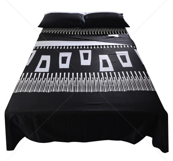 ágy fedett puha párna bútor szőnyeg Stock fotó © karammiri