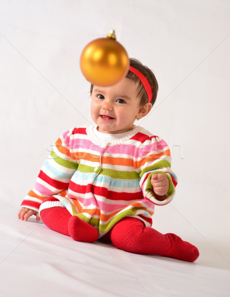 Kislány édes lány élvezi karácsony baba Stock fotó © karammiri