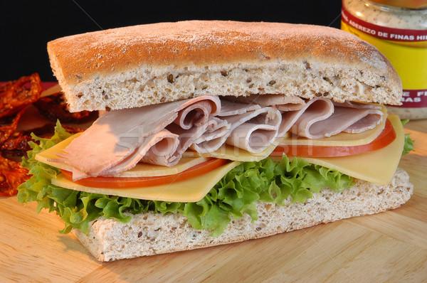 Klub szendvics étel tyúk sajt piros reggeli Stock fotó © karammiri