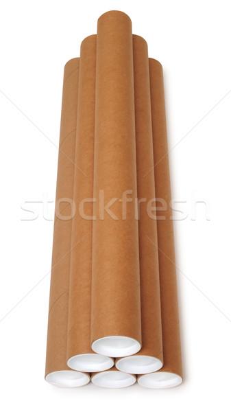 Karton cső izolált fehér papír út Stock fotó © karammiri