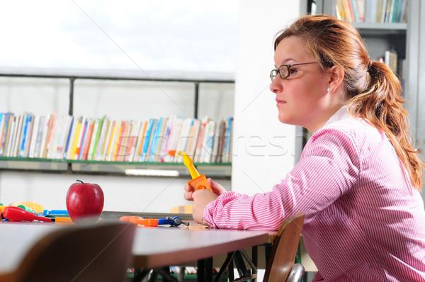 Сток-фото: учитель · молодые · библиотека · книга · девушки