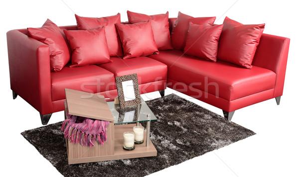 Kanapé vágási körvonal széles kanapé izolált fehér Stock fotó © karammiri
