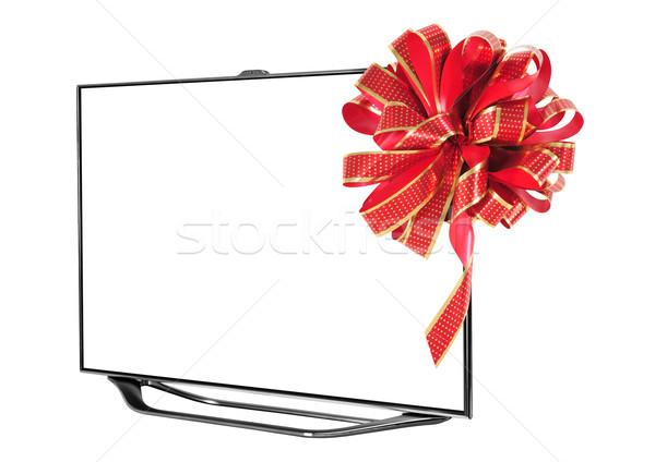Televízió vágási körvonal okos fehér otthon monitor Stock fotó © karammiri