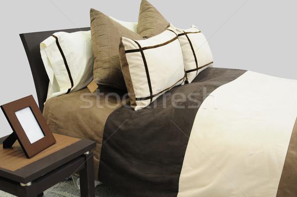 ágy puha párnák ház lámpa szőnyeg Stock fotó © karammiri