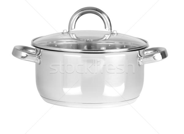 Stock fotó: Konyha · kellékek · izolált · lábas · fehér · étel