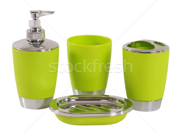 Fürdőszoba kellékek vágási körvonal fog ecset szappan Stock fotó © karammiri