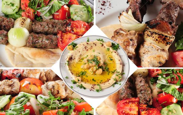 Kebab arab étel friss hozzávalók zöld Stock fotó © karammiri