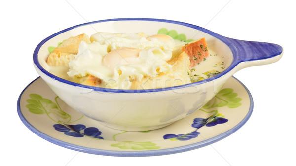 Reggeli tükörtojás tej kenyér tojás ebéd Stock fotó © karammiri