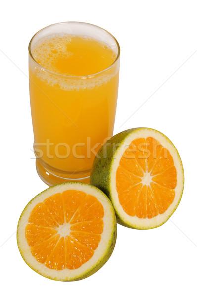 Stockfoto: Oranje · witte · voedsel · kruis · vruchten · glas
