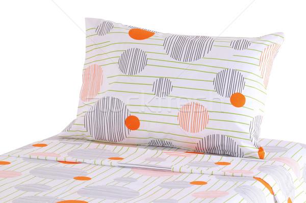 Cama coberto macio travesseiro fundo Foto stock © karammiri
