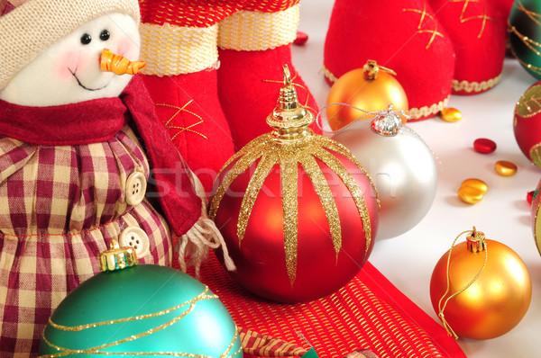 Karácsony dísz színes dekoráció tárgyak terv Stock fotó © karammiri