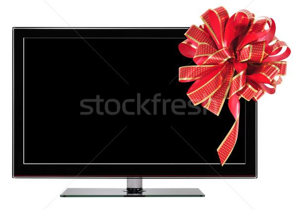 Ajándék televízió szalag fehér terv videó Stock fotó © karammiri