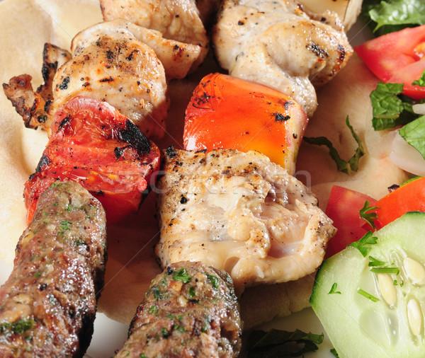 Arab étel friss hozzávalók zöld tyúk Stock fotó © karammiri