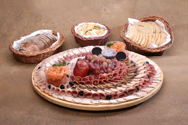 表示 食品 魚 緑 パン 肉 ストックフォト © karammiri