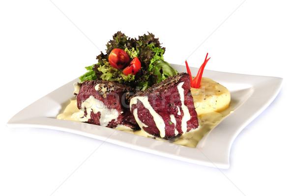 Filé hús zöldségek tehén étterem zöld Stock fotó © karammiri