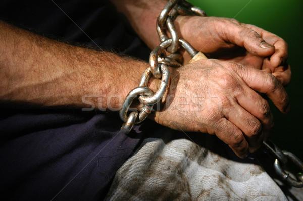 Chained person. Stock photo © karammiri