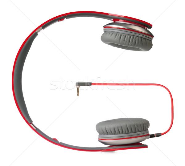 Fejhallgató vágási körvonal piros fehér zene űr Stock fotó © karammiri