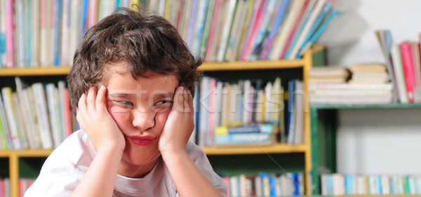 Enojado estudiante aburrido nino educación triste Foto stock © karammiri