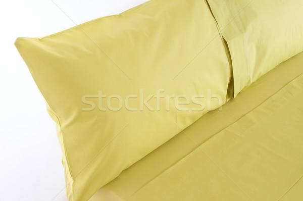 Stock fotó: ágy · izolált · puha · párnák · textúra · háttér