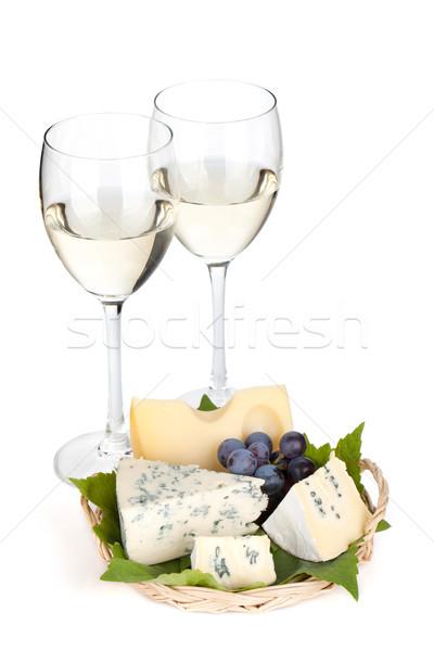 Kaas druif twee witte wijn bril geïsoleerd Stockfoto © karandaev