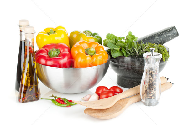 Fresh bell peppers, herbs and condiments Stock photo © karandaev