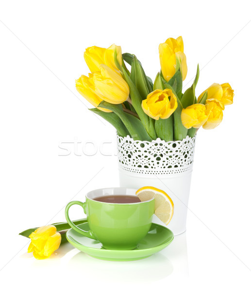 黄色 チューリップ 茶碗 レモンスライス 孤立した 白 ストックフォト © karandaev