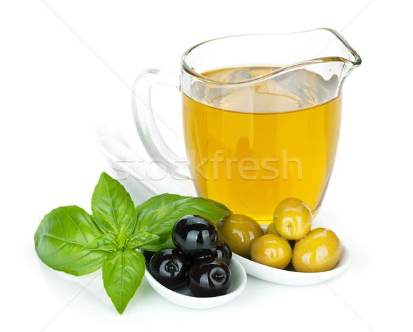 Verde azeitonas pretas manjericão azeite comida fundo Foto stock © karandaev