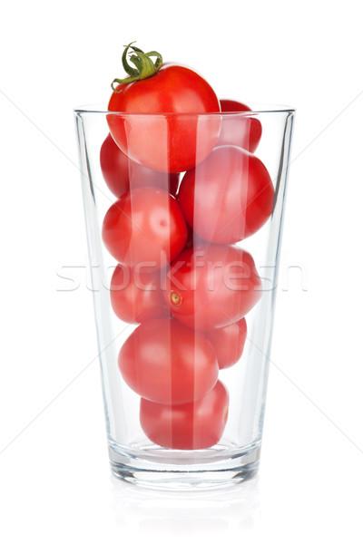 Tomates cereja vidro isolado branco folha saúde Foto stock © karandaev