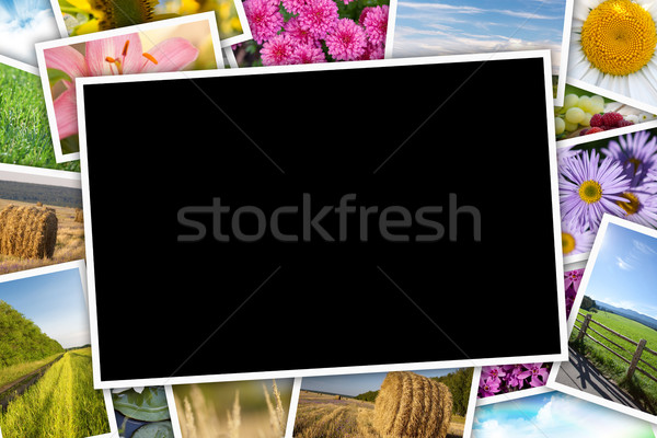 Stack of printed pictures collage Stock photo © karandaev