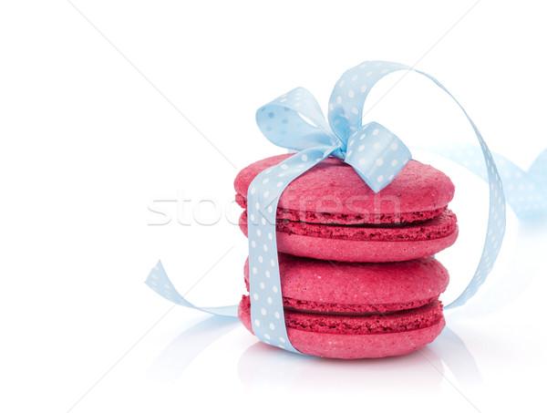 Rouge macarons bleu ruban isolé blanche Photo stock © karandaev
