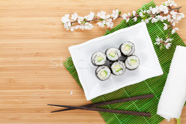 Sushi maki pepino sakura ramo bambu Foto stock © karandaev